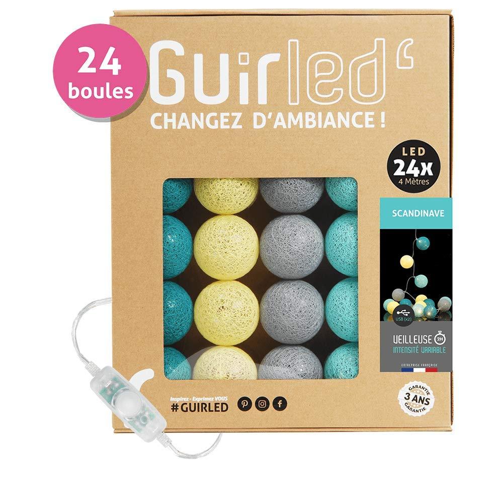 3 intensit/és Sauvage Chargeur double USB 2A inclus 24 boules Guirlande Lumineuse boules coton LED USB