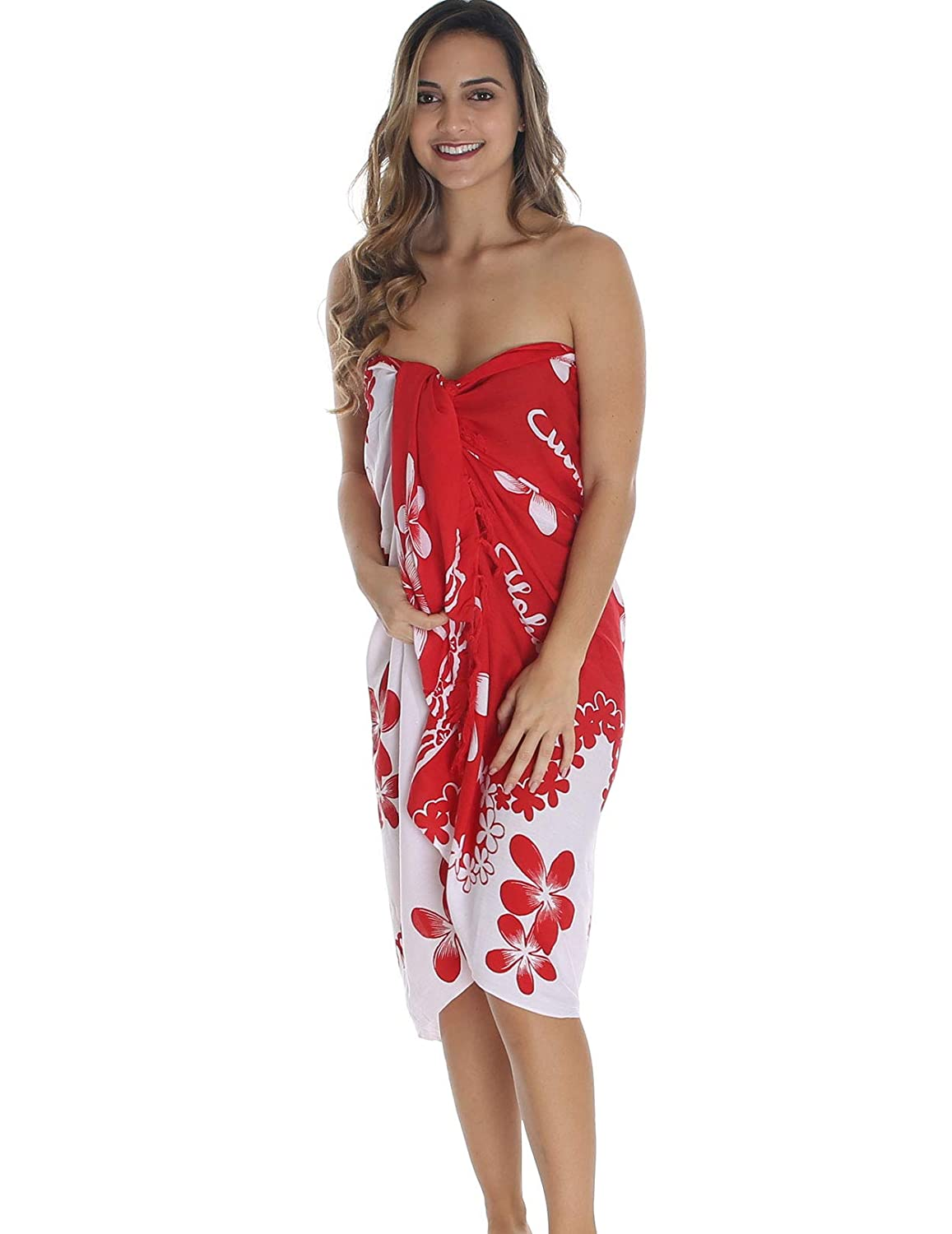 223f388624 Purple Sarong Swimsuit Cover-up with Large Hibiscus Flowers with FREE  Sarong Tie Accessory at Amazon Women's Clothing store: Fashion Swimwear Cover  Ups