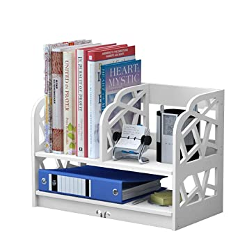 Komost Desktop Storage Bookshelf Small Bookcase Nightstand Organiser For Home Bedroom Office