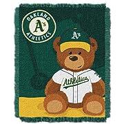 The Northwest Company MLB Oakland Athletics Field Bear Woven Jacquard Baby Throw, 36  x 46