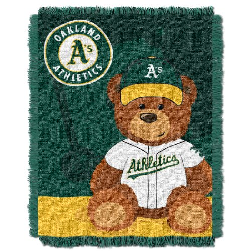 Oakland Athletics Blanket - The Northwest Company MLB Oakland Athletics Field Bear Woven Jacquard Baby Throw, 36