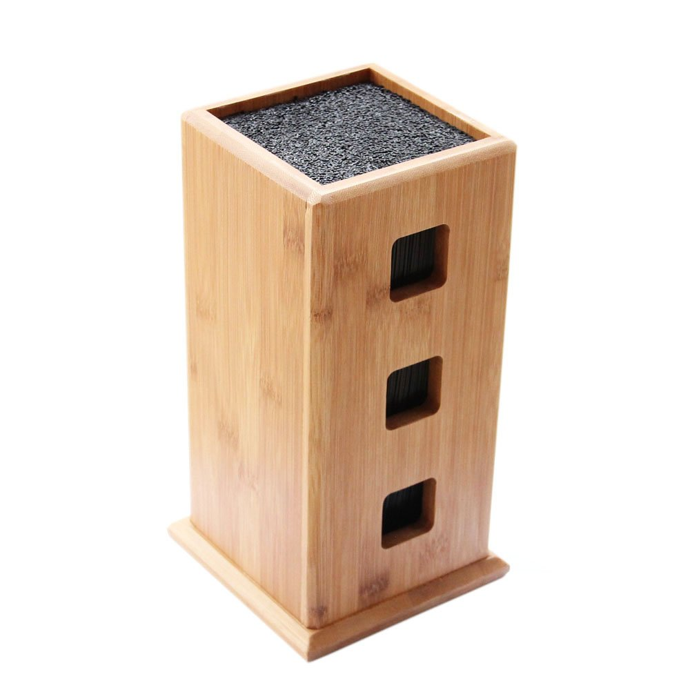 Universal Bamboo Knife Block, HANZIUP Slotless Wood Knives Holder Storage Stand, Kitchen Knives Organizer, with New Design Stylish, Dishwasher Safe, Removable Bristles - For Home Kitchen or Restaurant
