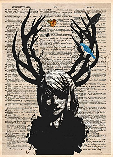 Girl with antlers art, Dark fae deer girl on dictionary page ()