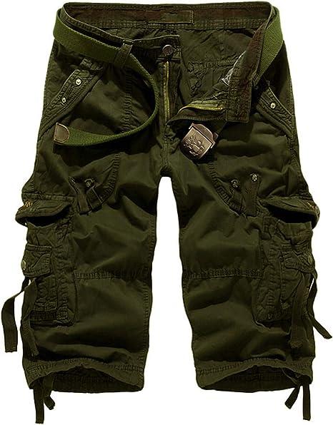 Anewsex Trendy Men Summer Shorts Mens Military Knee Length Short Pockets Casual Business Short Beach