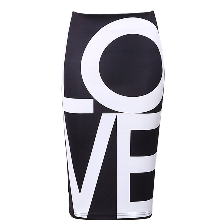 Jeremy Martin Women Black Love Printed Bodycon Pencil Skirt New Fashion Letter High Waist Slim Tube Midi White L