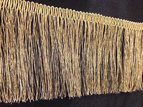 Matt Gold Lurex Metallic fransen Kleid Einfassung 8,3cm (83mm), Craft, Mode, 91cm Folie benötigen 3cm (83mm) Mctrimmings