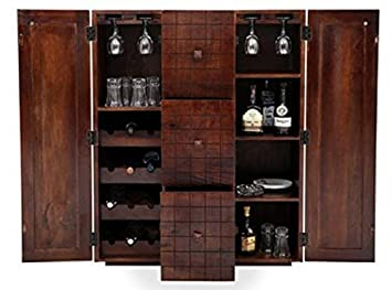 Jiya Creation Modern Style Bar Cabinet (Teak Wood Finish)