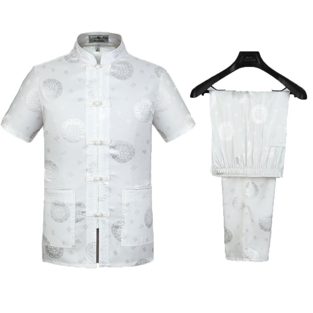 Tang Suit Men Traditional Chinese Clothing Suits Hanfu Cotton Short sleeve shirt coat Mens Tops and pants (S, White)