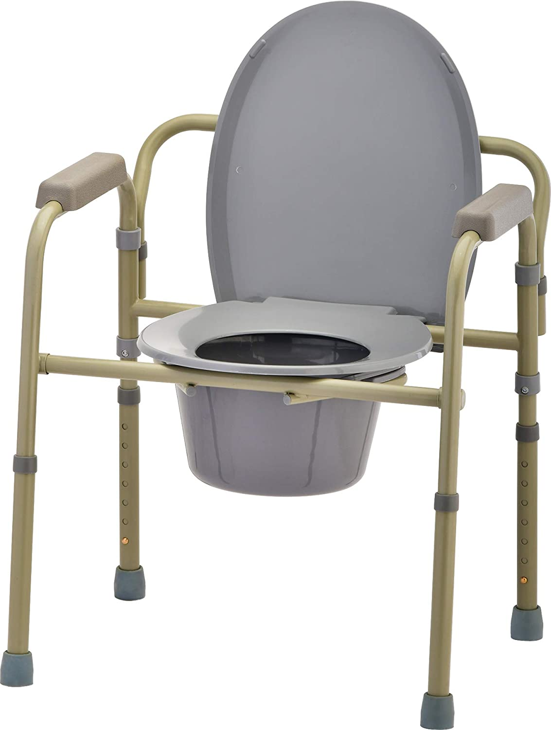 NOVA Folding Commode, Over Toilet and Bedside Commode, Comes with Splash Guard/Bucket/Lid: Health & Personal Care