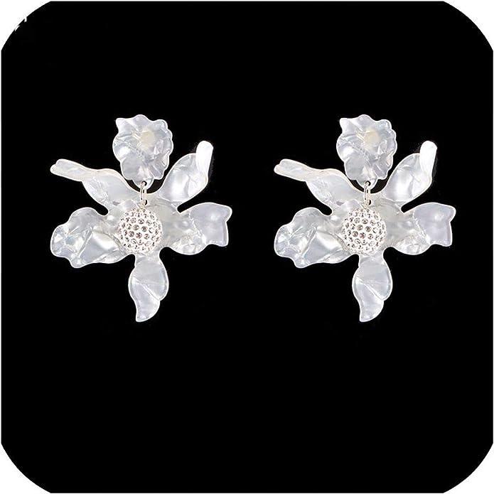chervil flowers Epoxy resin dangle drop earrings white dried chervil flowers rectangle shape large earrings boho small flowers transparent