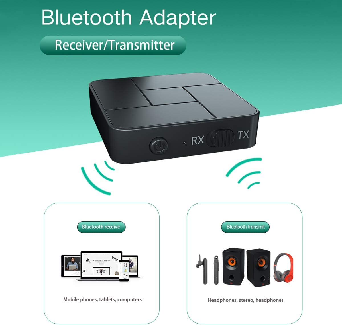 Bluetooth 5.0 Transmitter Receiver, 2-in-1 Wireless 3.5mm Audio aptX Low Latency Adapter for Single Bluetooth Signal Device, for Home Sound System/TV/PC/Tablet Headphone