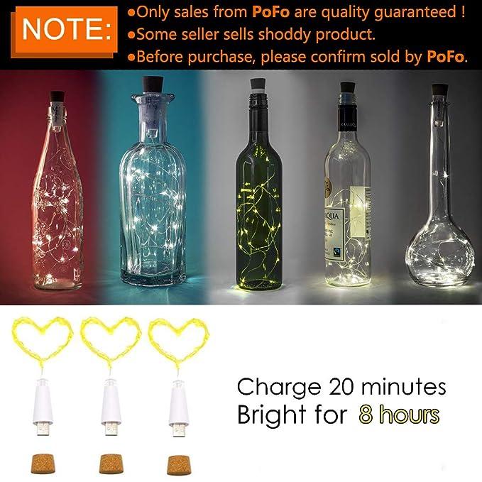 LED Corcho Botella Luces, USB Con Recargable, 1,9 m 20 LED, Cobre Alambre Cadena Estrellado LED Luces para DIY, Casa Cocina, Boda, Halloween, Navidad, ...