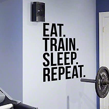 Amazon.com: eat train sleep repeat gym wall decal motivational quote