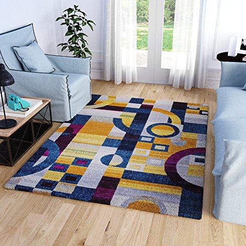 Super Area Rugs Colorful Blocks Retro Geometric Area Rug Stain Resistant Teal Yellow Orange Ivory Carpet, 5' 3