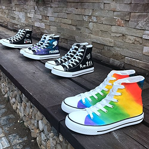 Effect Sneakers Flat Luminous Z105c Shoes Hand Espadrilles Painted Canvas Sport Starry Shoes Casual White Night Glow zznW0UrR