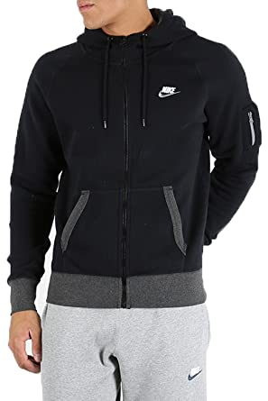ae2325b2a031 Amazon.com  Men s Nike Long Sleeve Contrast Cuffs Band Pockets Swoosh Hoodie  Zip Up Top  Clothing