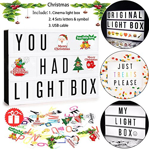 Hottly Led Cinema Light Box - A4 Cinematic Light Box with 289 Changeable Signs, Free Combination Letters, Emoji, Numbers and Christmas Card for Home and Wedding - Warehouse Cinema