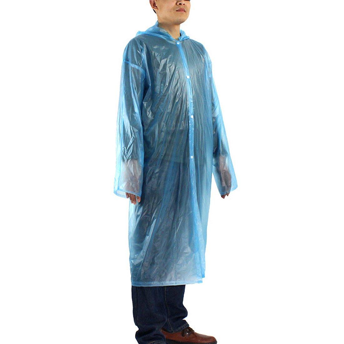Sourcingmap–® Uno Tamaño Adulto desechables regla PVC con capucha Poncho chubasquero lluvia para al ...