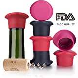 Wine Silicone Caps Stoppers Bottle Sealer Set of 6