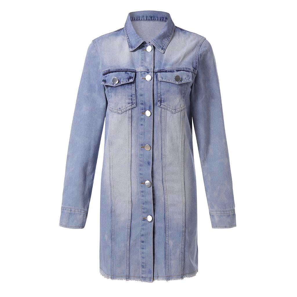 Women's Frayed Washed Button Up Cropped Denim Jacket w 2 Side Pockets by Dunacifa Women Outwear