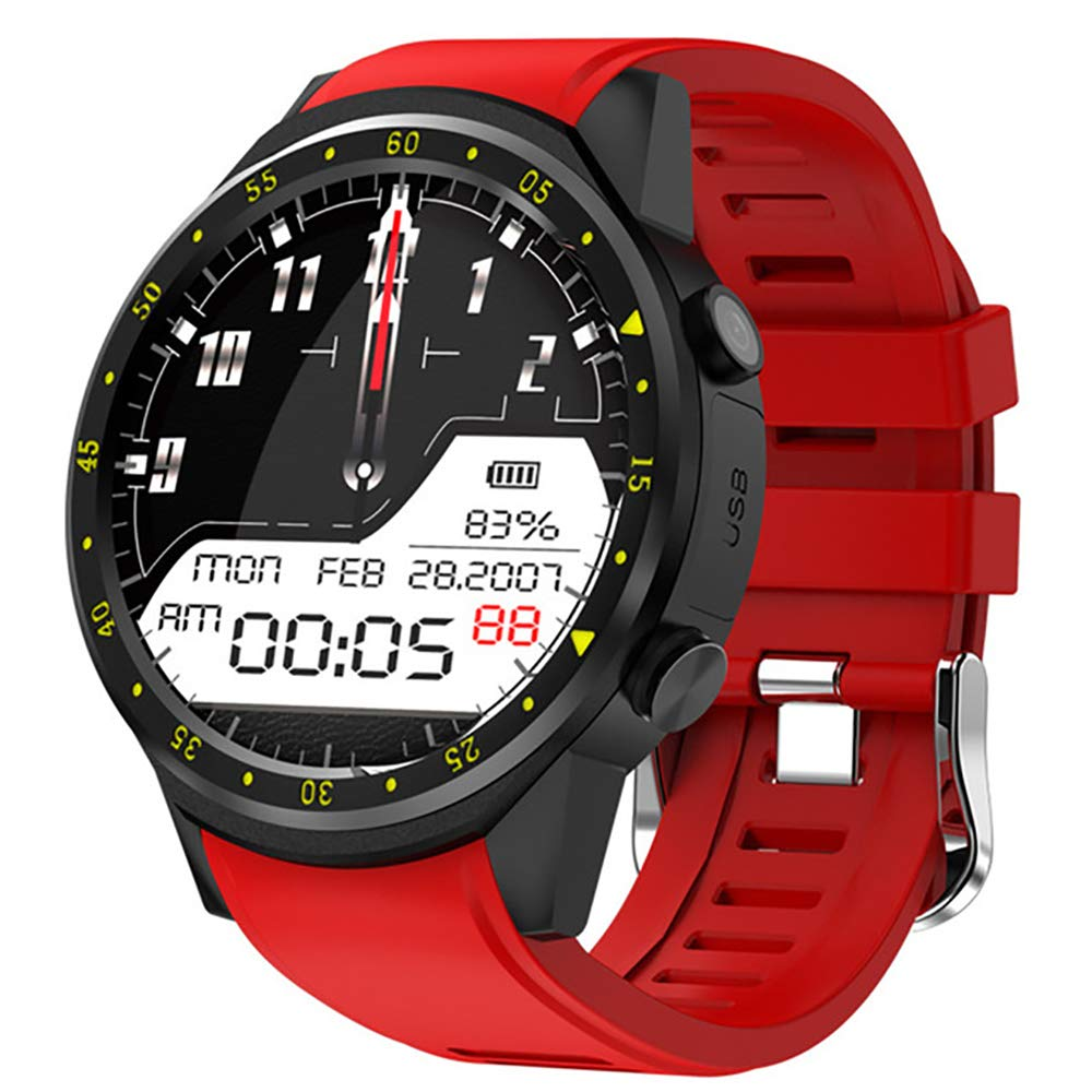 rouge  LDH intelligent regarder PositionneHommest Fréquence voiturediaque Altitude Altitude Surveillance Podomètre bleutooth Sports regarder,noir