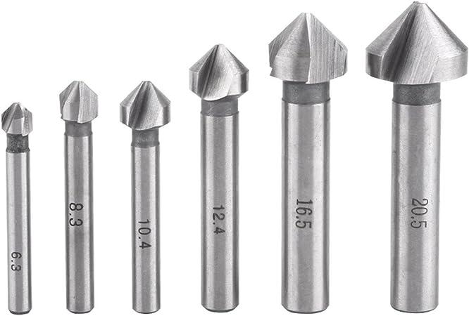 3Flute Countersink Drill Bit Round Handle 90Degree Steel Chamfer Cutter Tool.