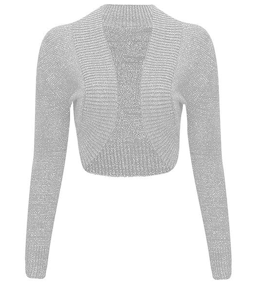 Chaqueta bolero, de punto, de manga larga, diseño metálico, para mujer Gris gris M/L(40-42)