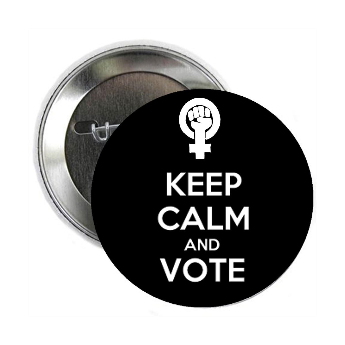 Feminist Power Keep Calm and Vote Button Pinback Button Pin 2.25 White