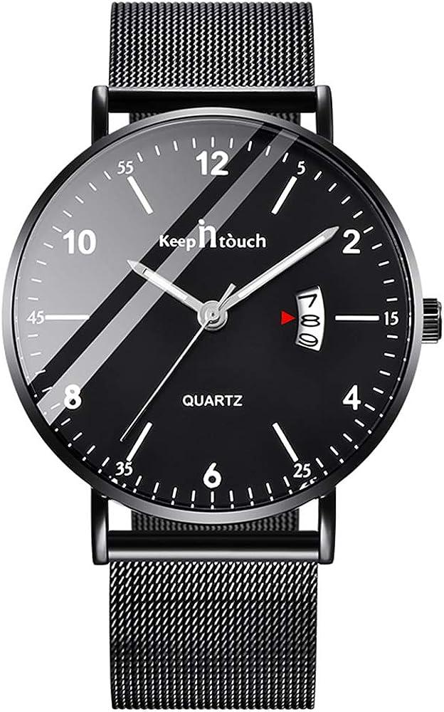 Infinito U-Fashion Reloj de Cuarzo Ultrafino para Hombre Mujer Moda Relojes de Pulsera Casual Impermeable Reloj con Fecha de Acero Inoxidable