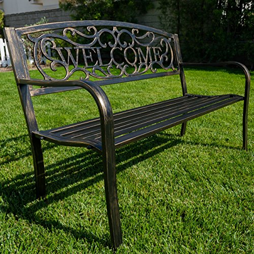 belleze 50 blossoming garden decorative patio park bench bronze outdoor benches patio and. Black Bedroom Furniture Sets. Home Design Ideas