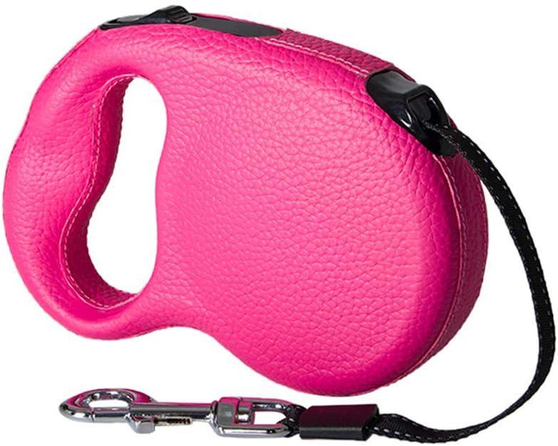 Correa para mascotas, tirador para perros de nylon para mascotas, tirador telescópico automático resistente al desgaste, longitud de la cuerda de 5 m, adecuado para perros grandes y medianos, rosa,