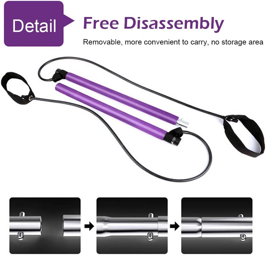 All-in-One Portable Home Gym Improve Fitness Burn Calories /& Fat,Pink Build Muscle Full Body Workout Portable Pilates Bar Kit