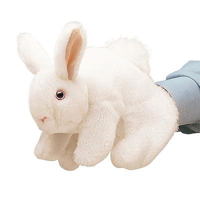 Folkmanis White Bunny Rabbit Hand Puppet: Toys & Games