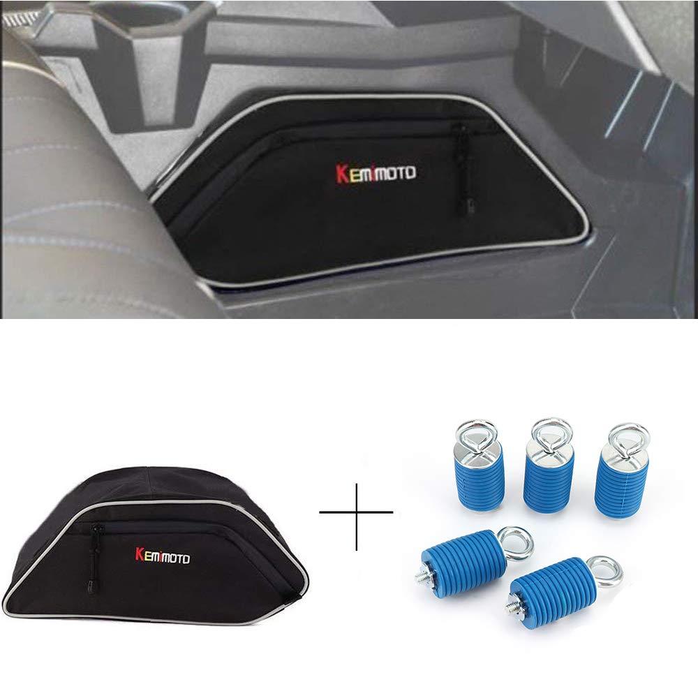 KEMIMOTO UTV Center Seats Console Storage Bag & Lock n RideTie Down Type Anchors for Polaris General 4 1000 2016 2017 2018