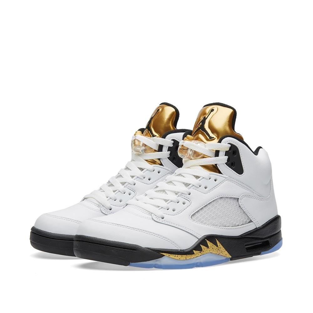 Nike Jordan Retro 5 Youth US 5.5 White Basketball Shoe by Jordan