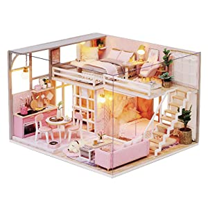 Spilay DIY Dollhouse Wooden Miniature Furniture Kit,Handmade Mini House Craft Plus Dust Cover&Music Box ,1:24 Scale Creative Toys Birthday for Girl and Women (Girlish Dream)