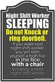 Night Shift Worker Sleeping Novelty Sign | Indoor/Outdoor | Funny Home Décor for Garages  sc 1 st  Amazon.com & Amazon.com: Smart Blonde Door Knockers Metal Novelty Parking Sign P ...