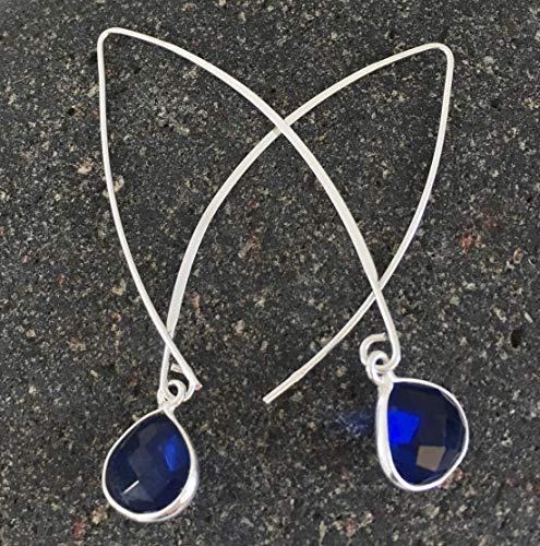 Bridal Cobalt Blue Quartz Earring Pear Shape Sterling Bridal Silver Ear Threader For Women Something Blue