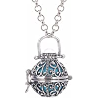 UMEIDO Antique Silver Chiming Ball Pregnant Women Necklace Perfume Diffuser with 31.5'' Chain