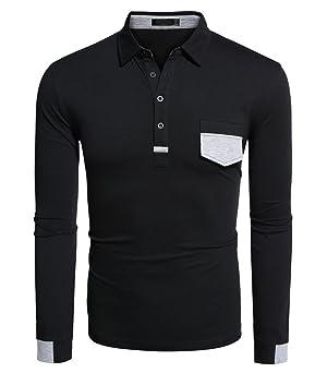 Qearal Men's Casual Turn Down Collar Long Sleeve Polo Shirt Slim Fit T-Shirt Top (M, Black)