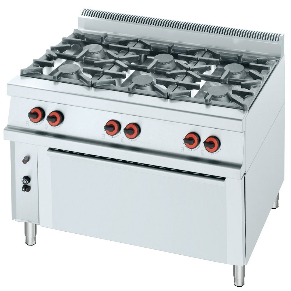 Macfrin R6L Cocina a Gas de 6 Fuegos y Horno 49 Kw: Amazon.es ...