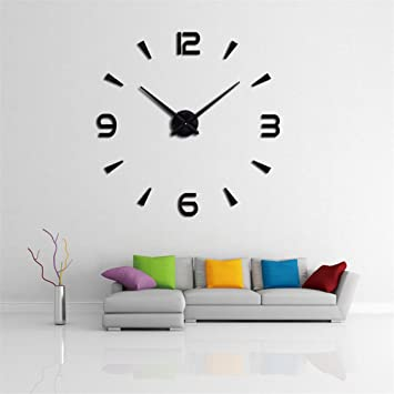 Amazoncom DIY 3D Wall Clock Modern Large Home Decor Sticker
