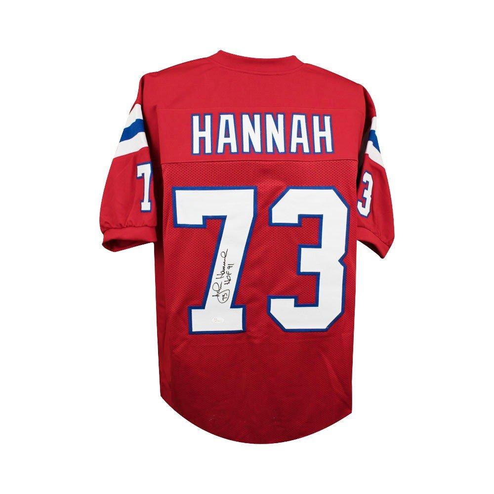 John Hannah HOF Autographed New England Patriots Custom Red Football Jersey - JSA COA SCC