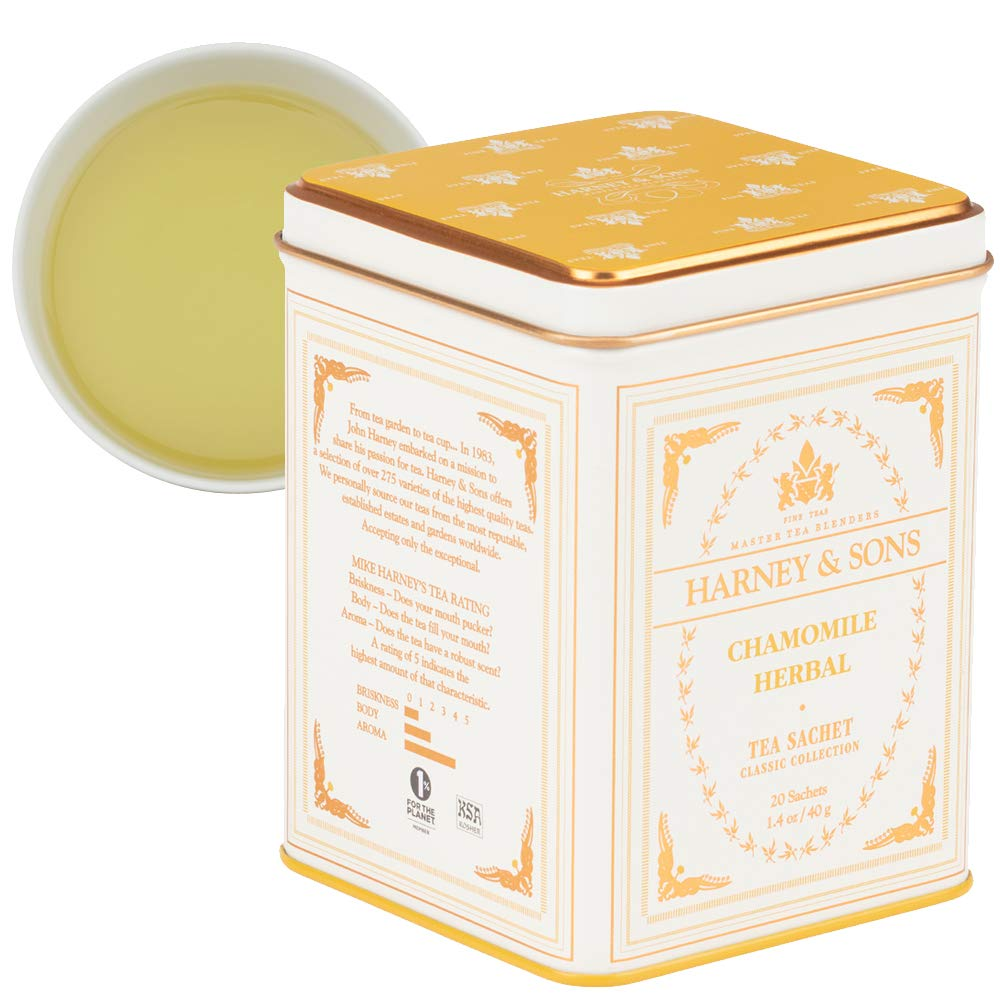 Harney & Sons Chamomile Herbal Tea, Classic Tin, 20 Sachets, white : Harney And Sons Tea : Grocery & Gourmet Food