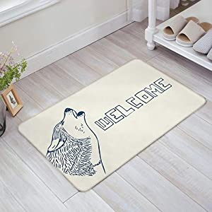 Shengqinfeng Howling Wolf Welcome Door Mat Entry Way Doormats with Non Slip Backing Bathroom Kitchen Decor Rug Mat Welcome Entrance Rugs£¨15.7 x 23.6 Inch£©