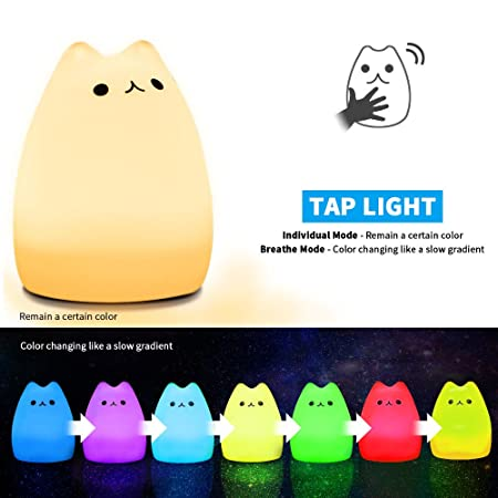 Amazon.com: Mystery Cat Night Light for Kids, Soft Silicone LED Baby  Nursery Sleep Relaxing Tap Light, Children Toy Nightlight, Decorative Desk  Light for ...