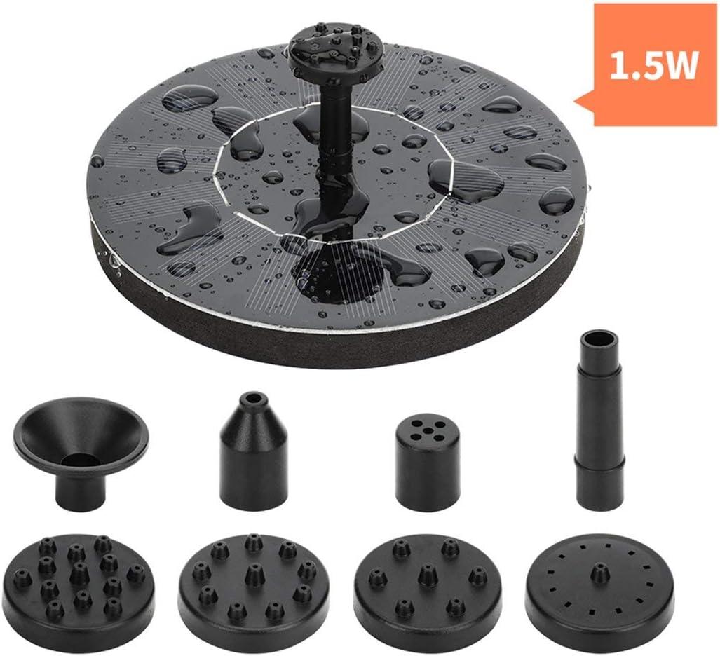 Prima05Sally Kit de Bomba de Fuente de Agua de energ/ía Solar para Piscina Jard/ín Estanque de riego Bomba de Fuente Redonda Sumergible con boquillas
