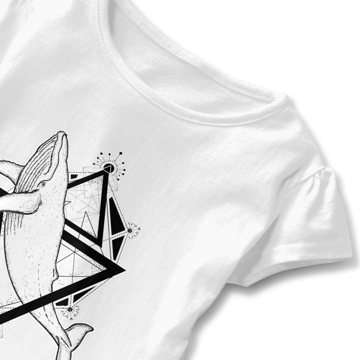 QUZtww Sketch Polyhedron Whale Toddler Baby Girl Basic Printed Ruffle Short Sleeve Cotton T Shirts Tops Tee Clothes White