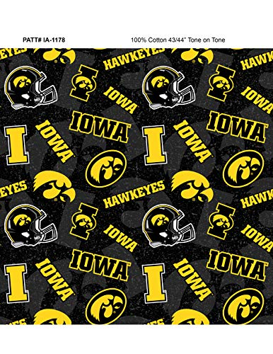 University of Iowa Cotton Fabric with New Tone ON Tone Design -Newest Pattern