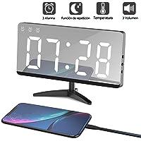 LED Despertador Digital Espejo Despertador Alarma Electrónico Reloj